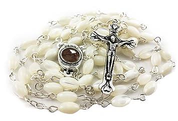 Rosario de perlas Cruz con la medalla de María y el santo suelo de Tierra Santa