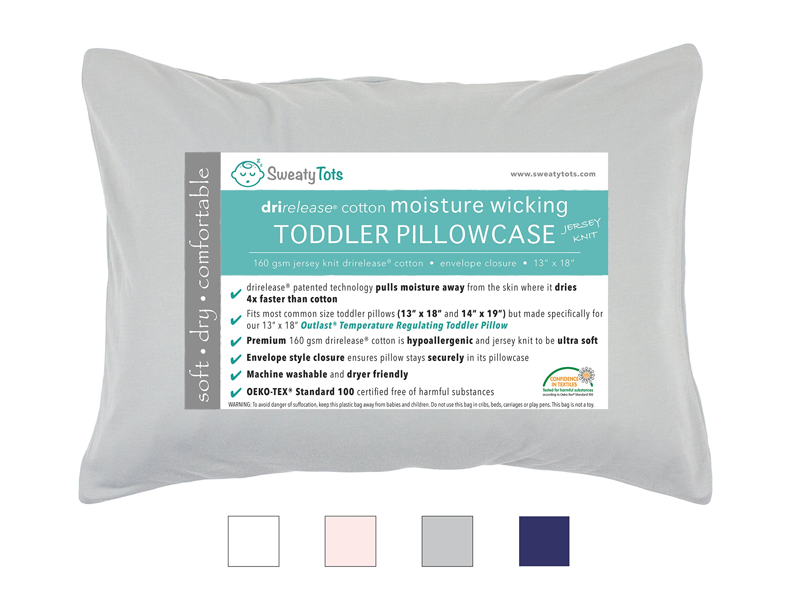 70a7612270 Moisture Wicking Toddler Pillowcase for Sweaty Sleepers - Fits 13 x 18 and  14 x 19