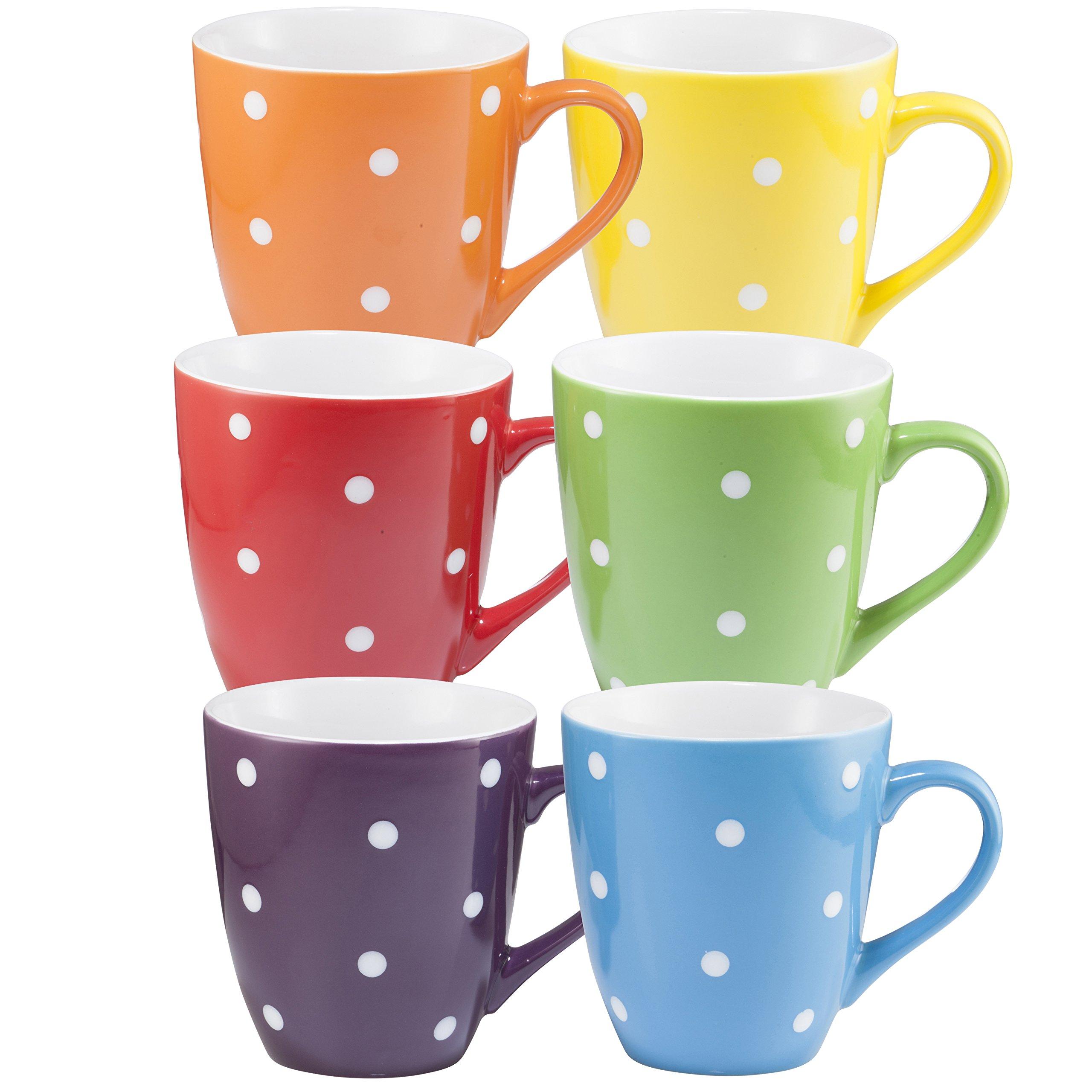 Coffee Mug Set Set of 6 Large-sized 16 Ounce Ceramic Coffee Mugs Restaurant Coffee Mugs By Bruntmor (Polka Dot) by Bruntmor (Image #5)