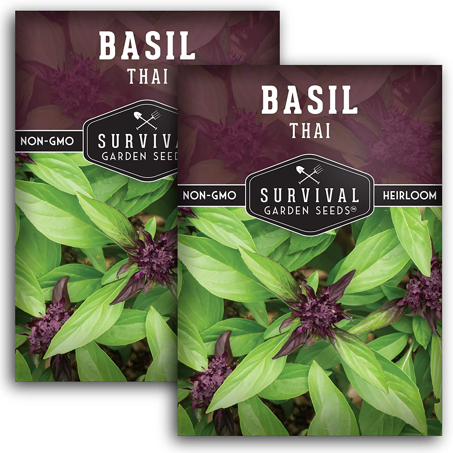 Survival Garden Seeds - Thai Basil Seed for Planting - 2 Packets with Instructions to Plant and Grow in Your Home Vegetable Garden - Non-GMO Heirloom Variety