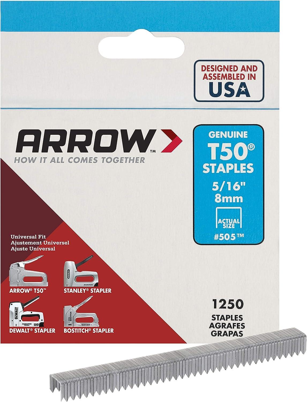 8mm 1250 St/ücke ARROW T50 Staples Box 5//16in