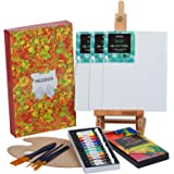 MEEDEN 22-Pcs Acrylic Painting Set with 16.8'' Tabletop Easel, 12 Colors Acrylic Paints, 3 Canvas Panels, 5 Paint…