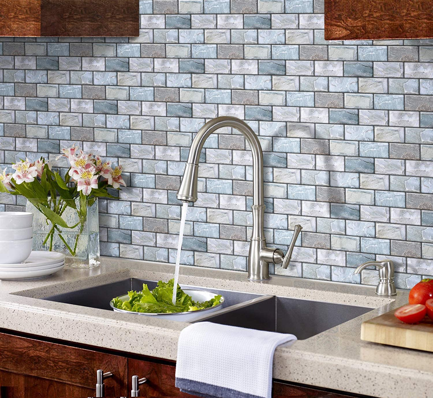 Amazon Com Shingone Peel And Stick Tiles For Kitchen Bathroom Backsplash Self Adhesive 3d Brick Wall Tile Stickers Removable Subway Tiles Sticker For Home Decor 10 X10 6 4 Pcs Arts Crafts Sewing