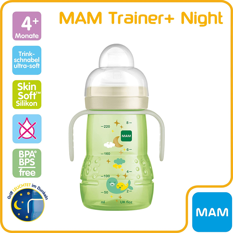 gr/ün 4+ Monate 220 ml MAM Trainer+ Night Trinklernflasche Trinkbecher mit leuchtendem Griff f/ür den /Übergang zum Becher auslaufsicherer Trinklernbecher mit tropffreiem Sauger und Trinkschnabel