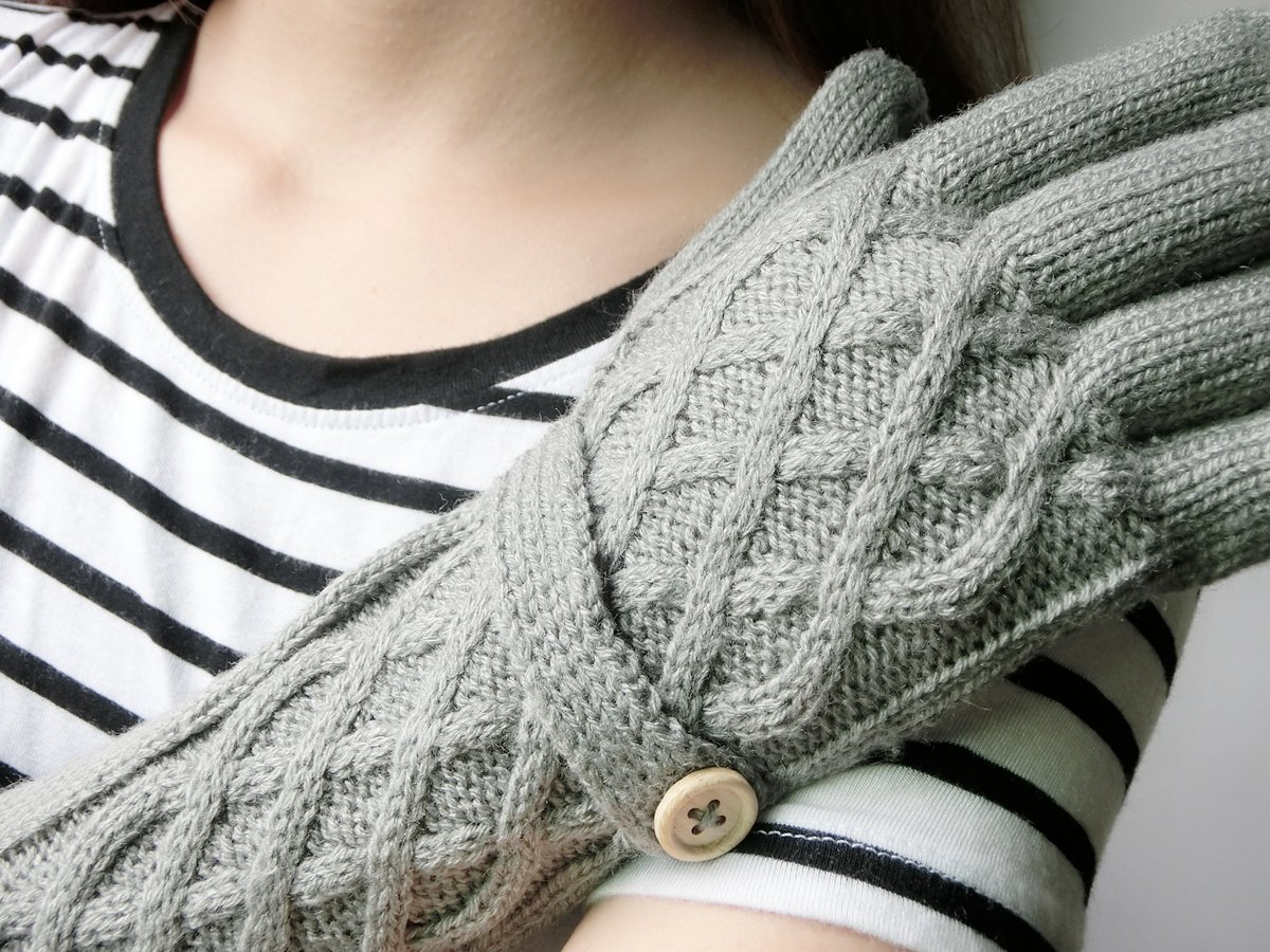 Cozy Design Women's Woolen and Cony Hair Knitted Long Gloves Grey by Cozy Design (Image #2)