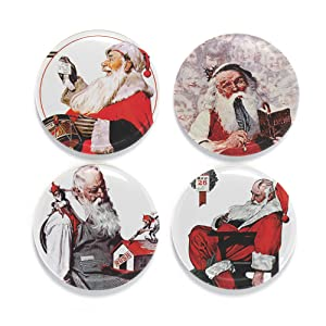 "Buttonsmith Rockwell Santas Magnet Set - Set of 4 1.25"" Magnets - Made in the USA"