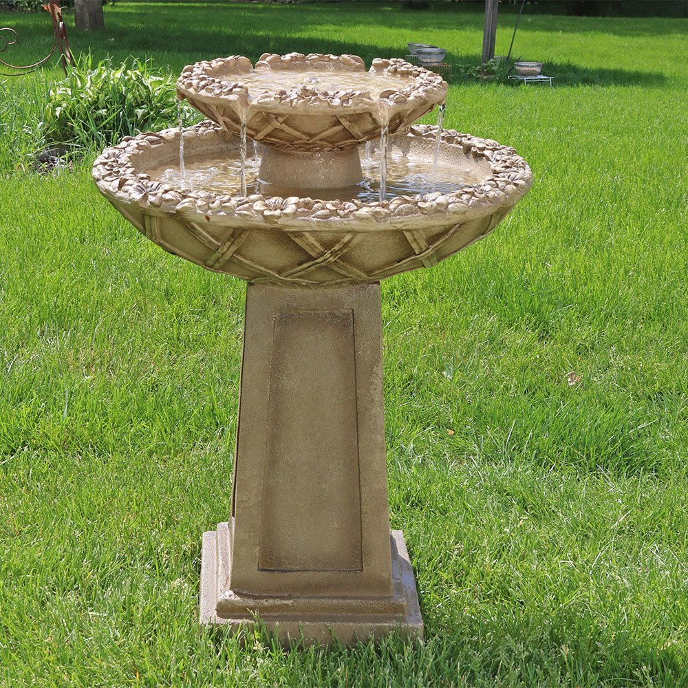 Sunnydaze Beveled Flower 2-Tier Birdbath Water Fountain, 28 Inch