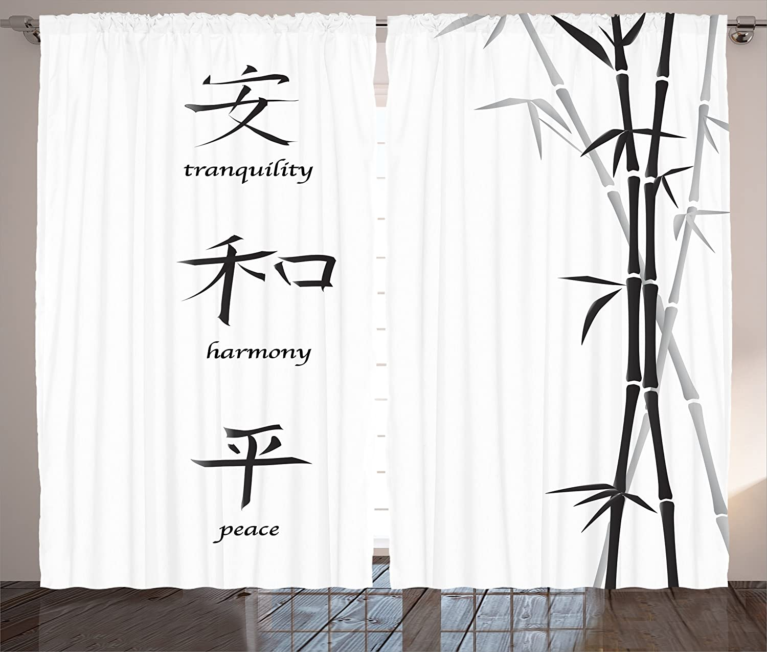 Ambesonne Bamboo Curtains, Illustration of Chinese for Tranquility Harmony Peace with Bamboo Pattern, Living Room Bedroom Window Drapes 2 Panel Set, 108