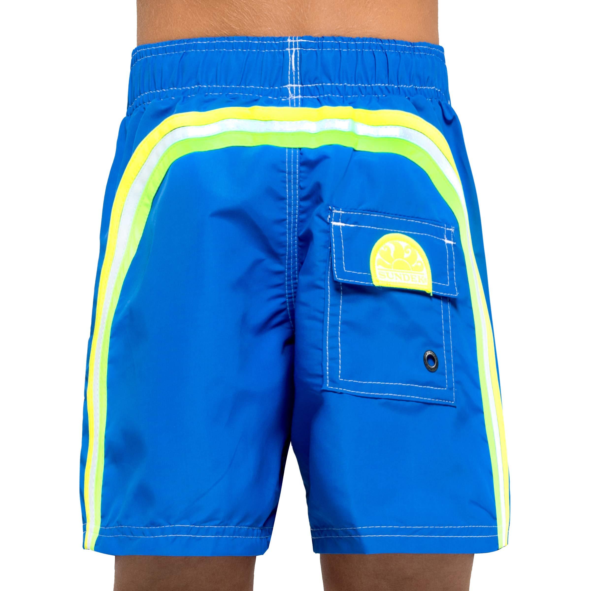 Sundek Classic Boy's Shorts - 10'' Long - with Rainbow ON The Back (SAPPHIRE #8, 4)