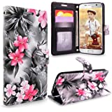 S7 Case, Galaxy S7 Wallet Case, Cellularvilla [Slim] [Card Slot] Premium Pu Leather Wallet Case [Wristlet] [Drop Protection] Flip Protective Stand Cover For Samsung Galaxy S7 G930 (Black Pink Flower)