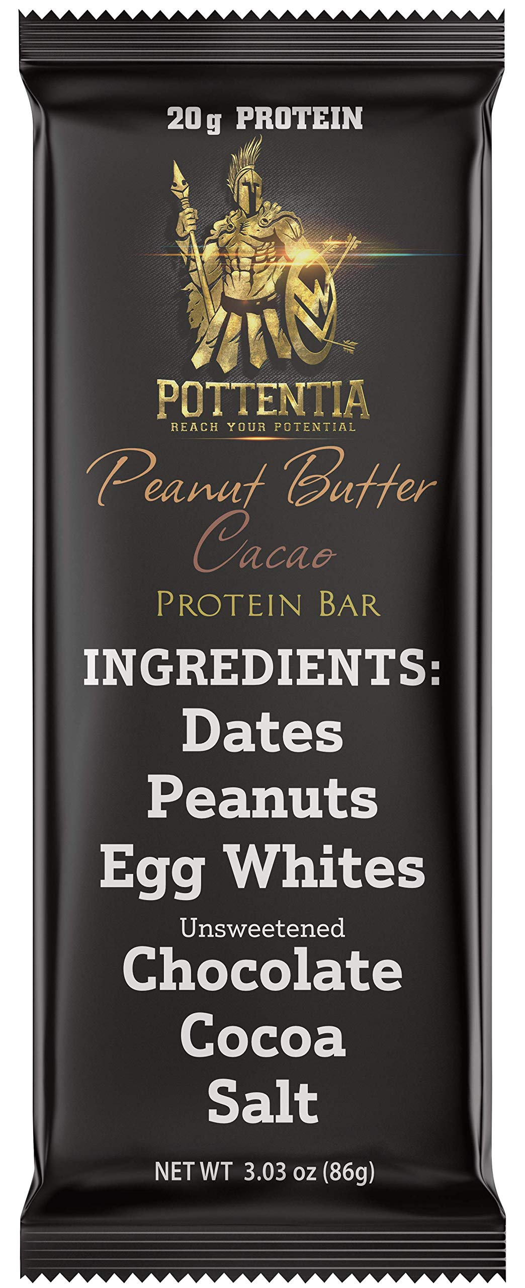 Pottentia Whole Food Meal Replacement Protein Bar, 20 Grams Protein, Peanut Butter Cacao, Dairy Free, Egg White, Gluten Free, 6 Ingredients, 8 Large 86 Gram Bars, High Fiber, No GMO, No Soy by Pottentia