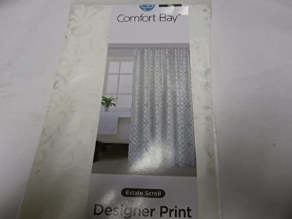 Comfort Bay Estate Scroll Designer Print Shower Curtain Or Liner Odorless White