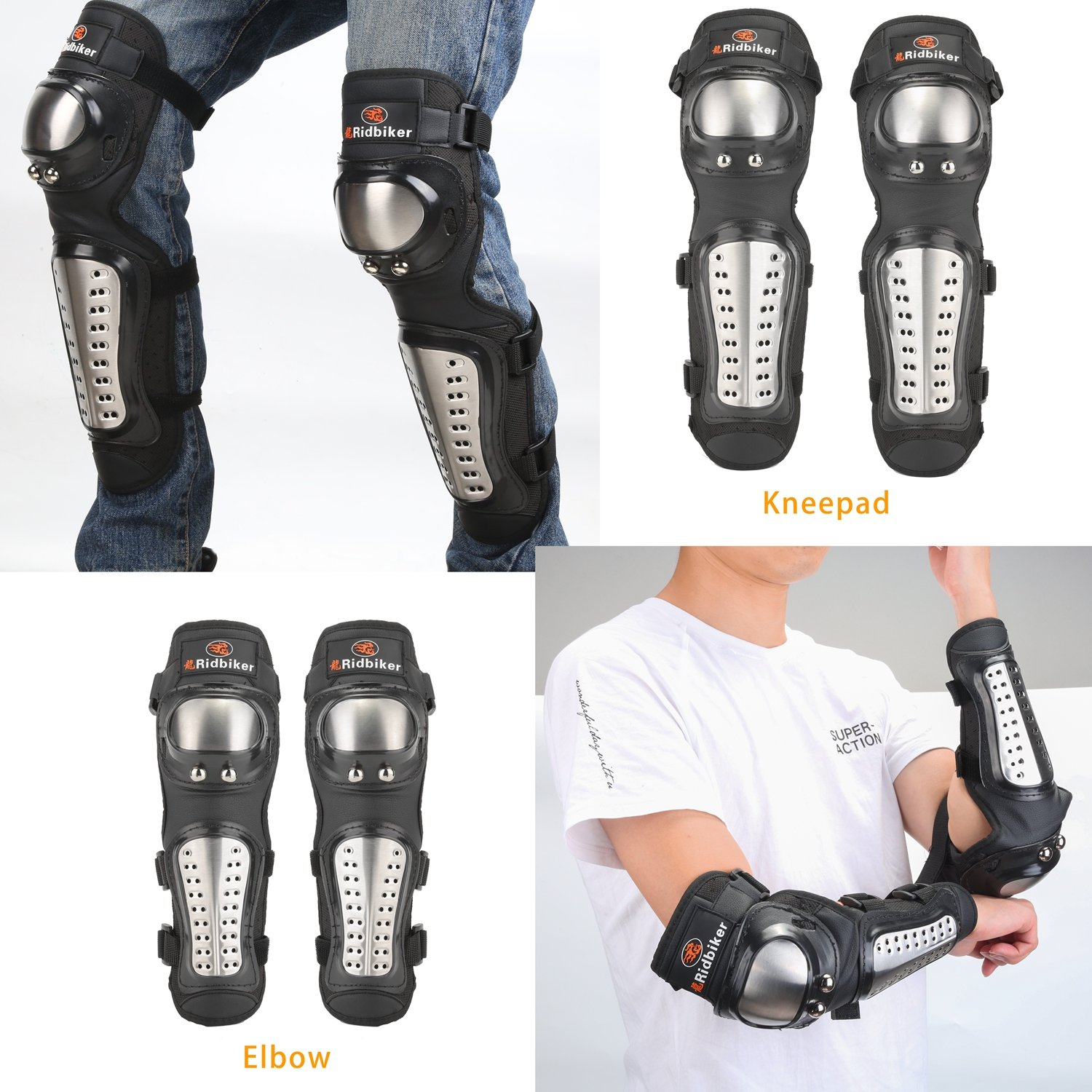 2 Pair of Stainless Steel Motocross Elbow Knee Shin Guard Pads 4Pcs Breathable Adjustable Knee Cap Pads Protector Elbow Armor for Motorcycle Cycling Racing by Ridbiker (Image #4)