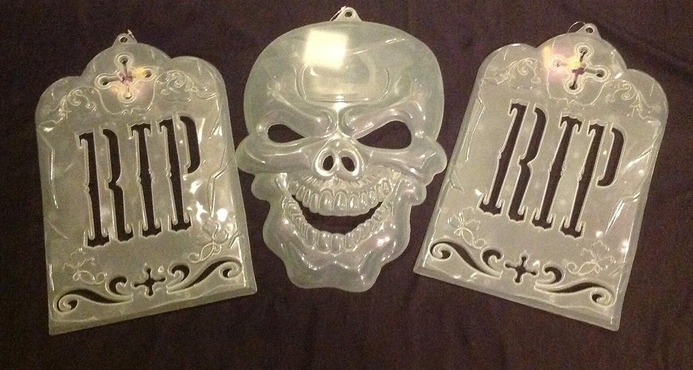 Skull Tombstone Ghost Decoration Set Glow in the Dark Halloween Decor Wall