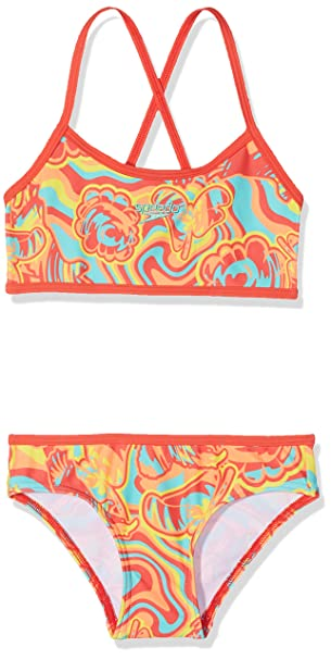 dd49f1fed32da Speedo Girl Kids Colourmelt All-Over Crop Top Swimsuit (Pack of 2 ...