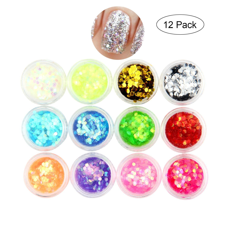 volto glitter, Leegoal Chunky glitter per viso e corpo, cosmetici Hexagons glitter, paillette glitter decorazione, capelli e unghie, 12colori