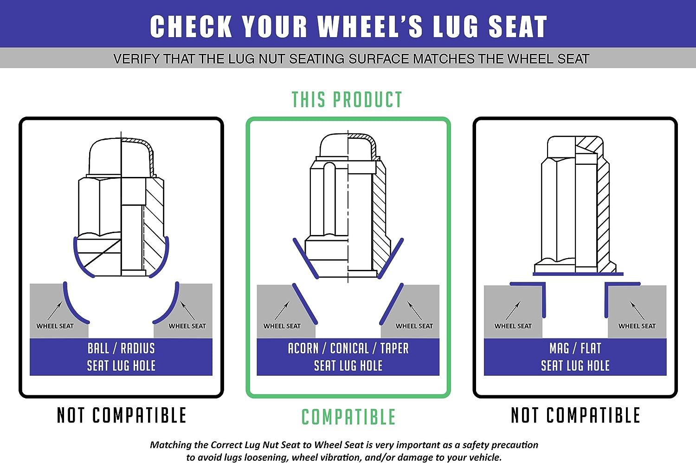 "Set of 20 Chrome 1.50"" Long Truck Small Diameter Lug Nut Closed End Bulge Acorn 6 Spline with Key (M14 x 1.50, Chrome): Automotive"