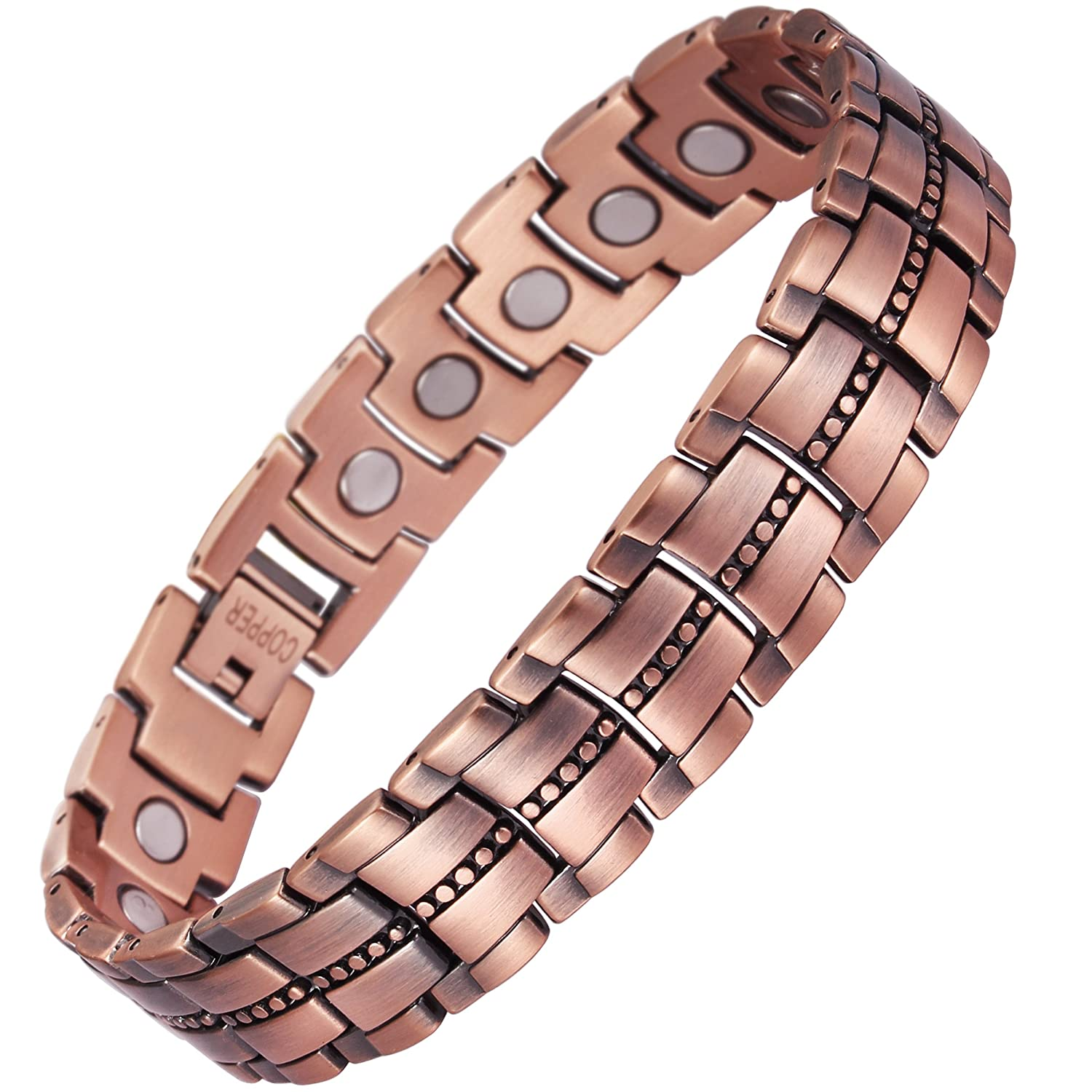 VITEROU Mens 99.95% Pure Copper Magnetic Therapy Bracelet with High Powered Magnets for Arthritis Pain Relief,3500 Gauss,8.5-9.8 Inches USTRCOR-034