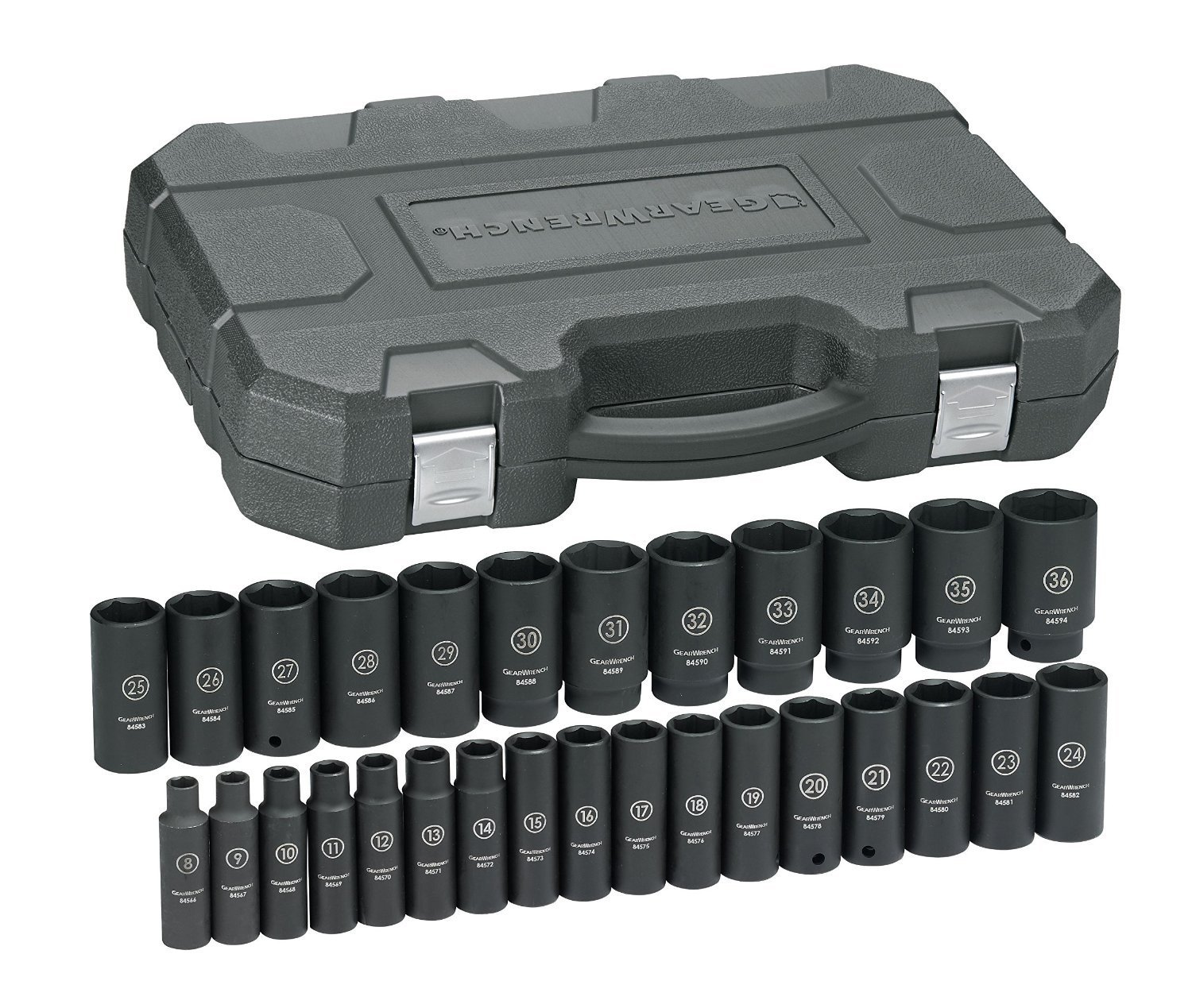 GEARWRENCH 29 Pc. 1/2'' Drive 6 Point Deep Impact Metric Socket Set - 84935N by GearWrench