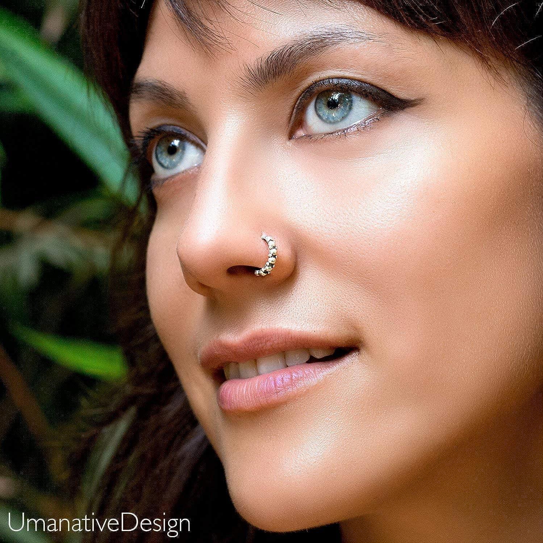 Amazon Com Boho Nose Ring Sterling Silver Unique Ethnic Nose