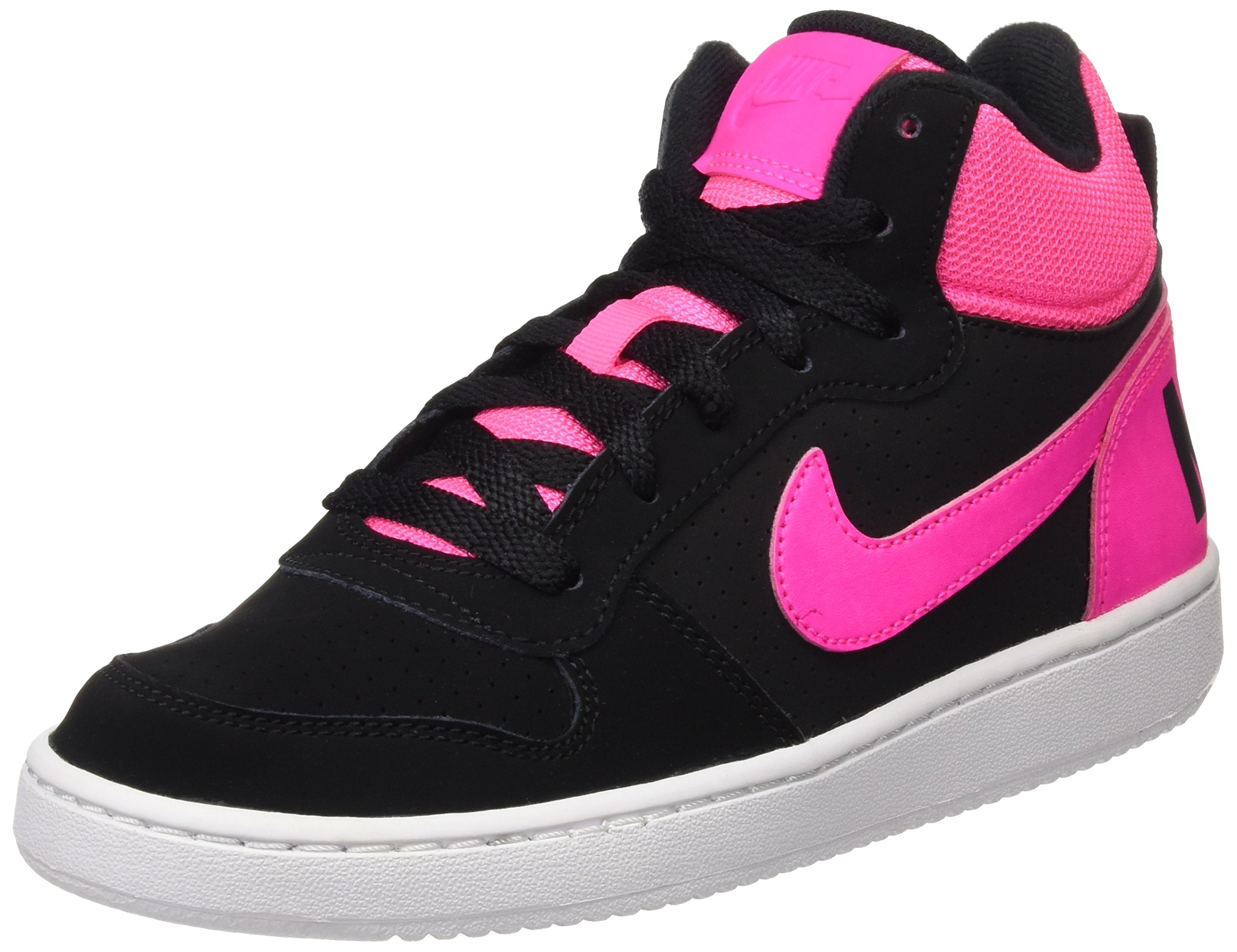 Nike - Court Borough Mid GS - 845107006 - Color: Black-Pink-White - Size: 5.0