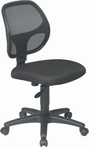 Office Star Mesh Screen Back Armless Task Chair with Padded Fabric Seat, Black