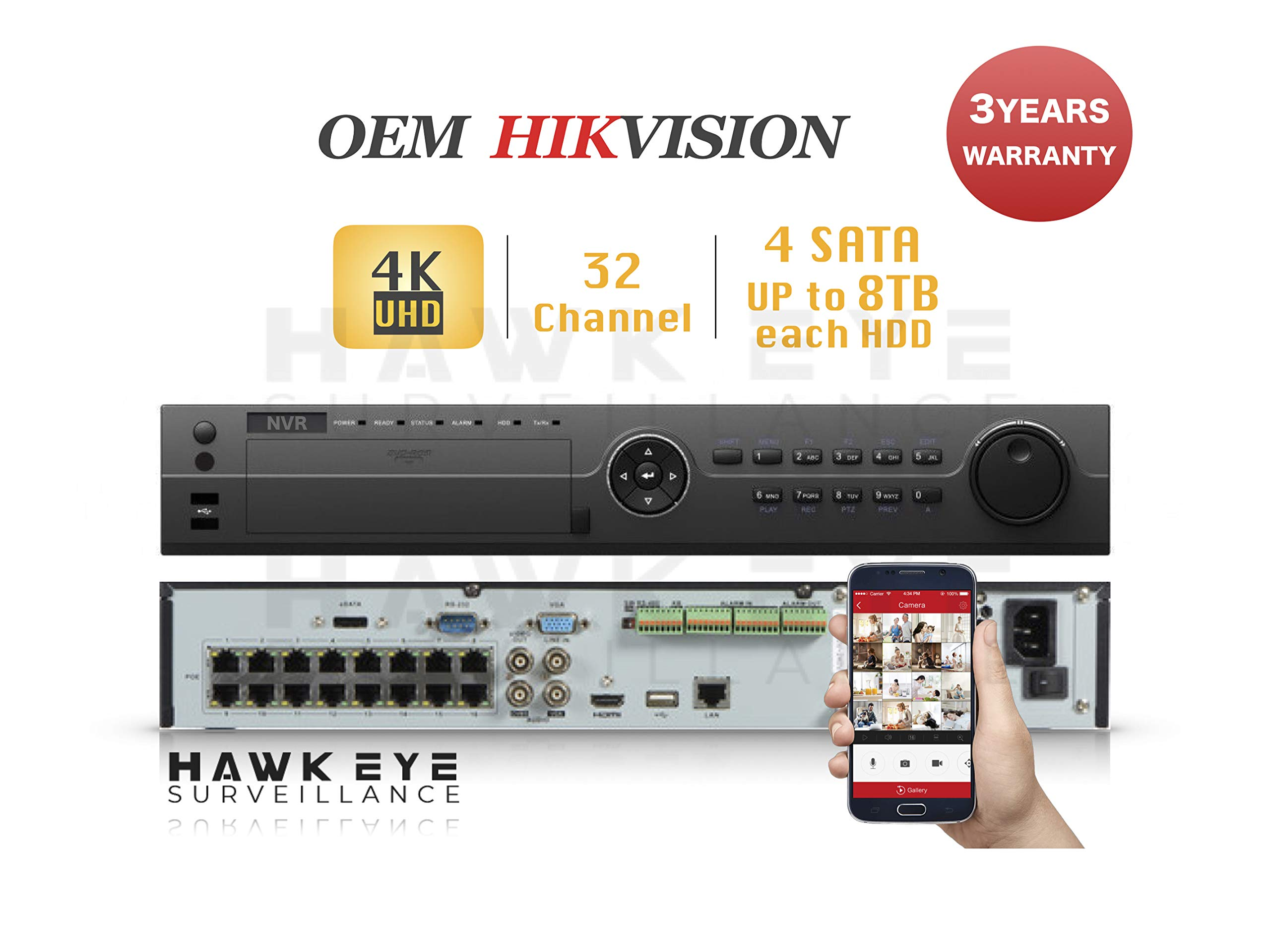 4K 32CH IP Network Video Recorder - 16 Built in PoE Port Up to 12MP Resolution Recording Compatible with DS-7732NI-I4/16P NVR 3 Year Warranty by HAWK EYE SURVEILLANCE