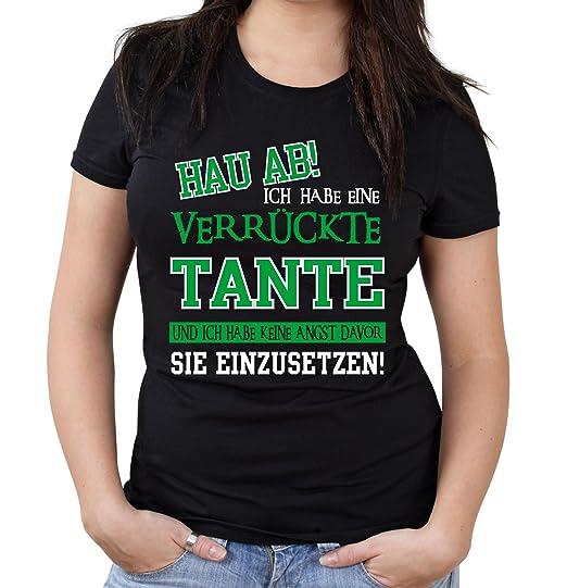 Verrückte Tante Girlie Shirt Geburtstag Geschenk Geschenkidee Sprüche Zitate Kostüm Coole Mama Papa Frauen Damen Fun