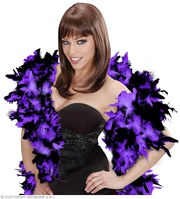 Feather Boa 180cm - Blk/Purple Accessory for Fancy Dress Sancto WDM45553