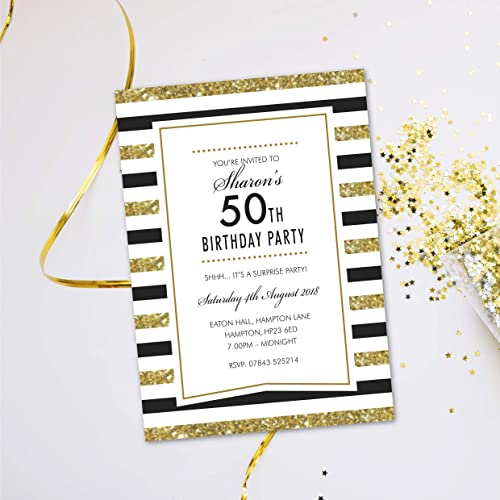 Surprise 50th Birthday Party Invitations For Women Men Evening Disco Karaoke Glitter Black Tie Cards Invites Personalised 10 Pack Amazoncouk Handmade