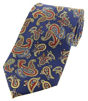 Soprano Corbata con estampado vintage de cachemir en azul: Amazon ...
