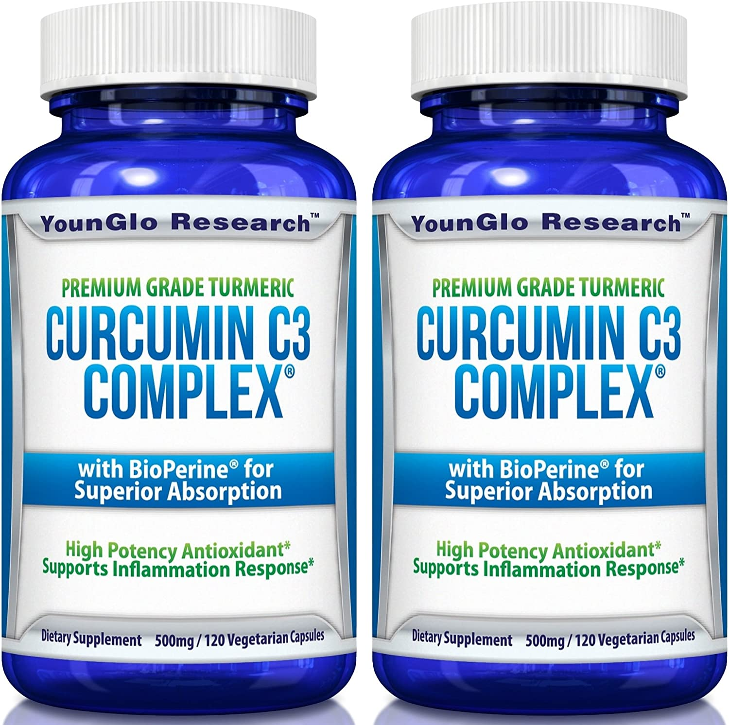 Curcumin C3 Complex with BioPerine – Powerful Health Benefits – Non-GMO Vegetarian Tumeric Capsules 2 Pack