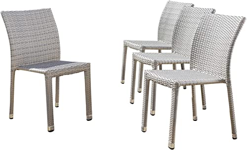 Christopher Knight Home Dover Outdoor Wicker Armless Stacking Chairs with Aluminum Frame, 4-Pcs Set, Chateau Grey