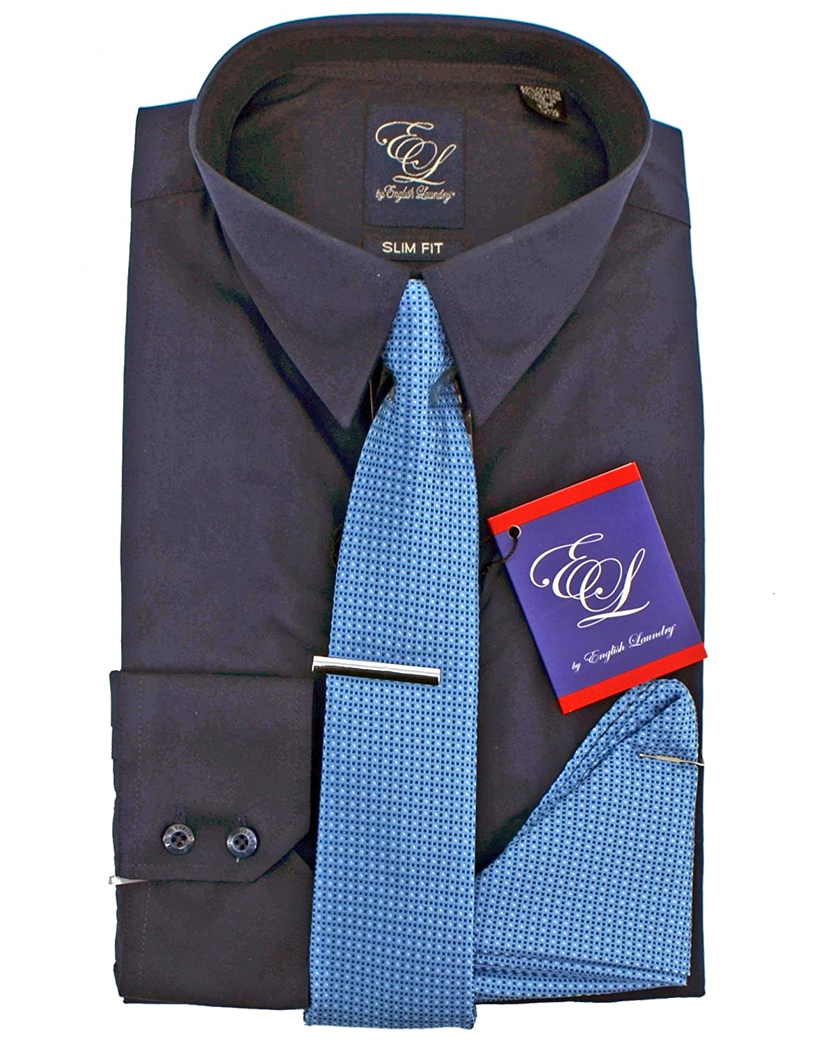 English Laundry Dress Shirt Tie Pocket Square And Tie Bar Combo
