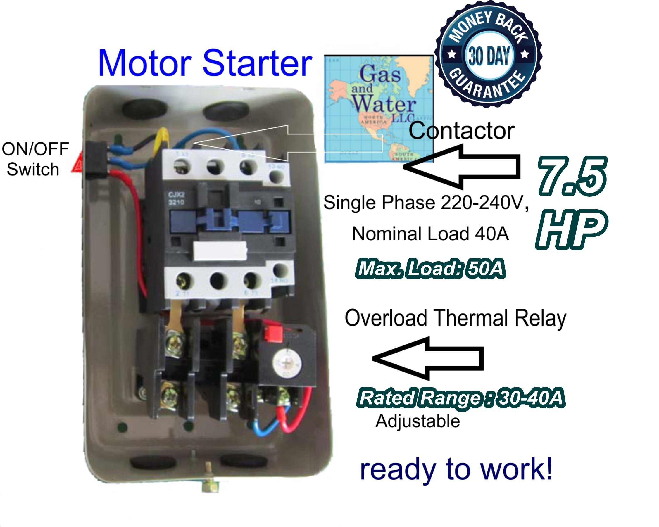 Magnetic Electric Motor Starter 7.5 HP Single Phase Control 220/240V 30-40A