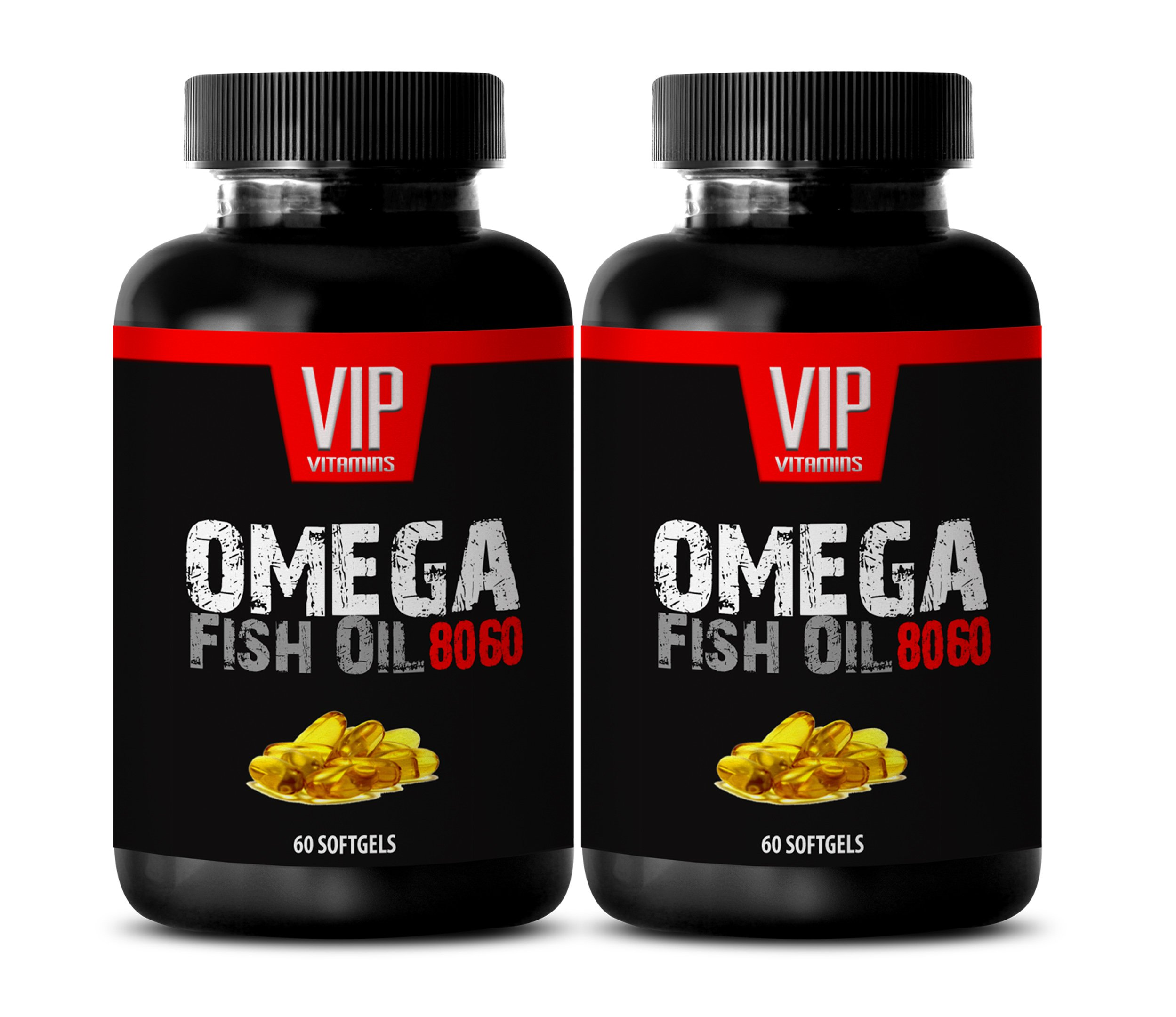 Brain supplements for adults - OMEGA FISH OIL 8060 - Omega 3 6 9 for women - 2 Bottles 120 Softgels by VIP Supplements