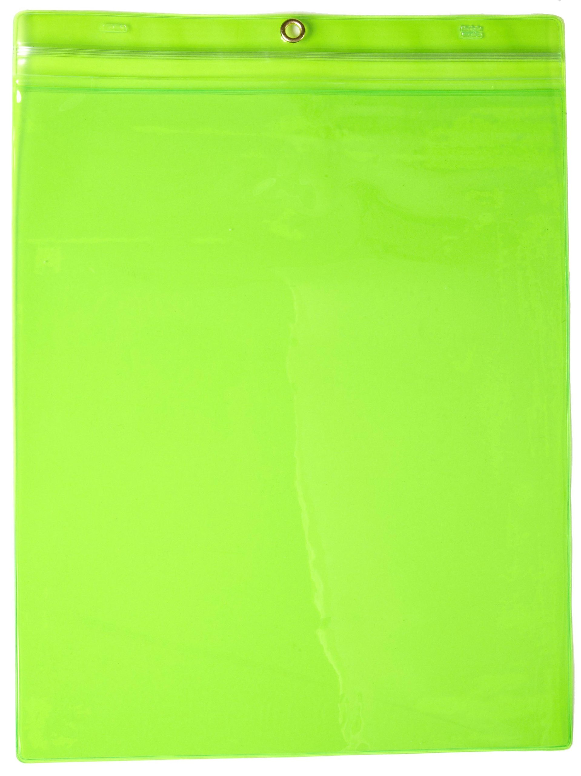 Menda 35091 Green Clear Vinyl Job Ticket Holder with Re-closable Zipper, 13-1/4'' Length x 9-3/4'' Width (Pack of 25)
