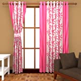 Freehomestyle  Floral  Polyester Door Curtain - 7ft, Pink