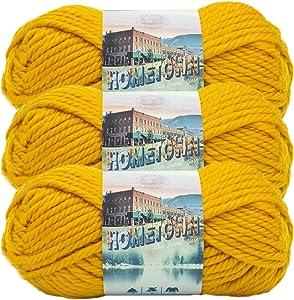 (3 Pack) Lion Brand Yarn 135-159 Hometown Yarn, Madison Mustard