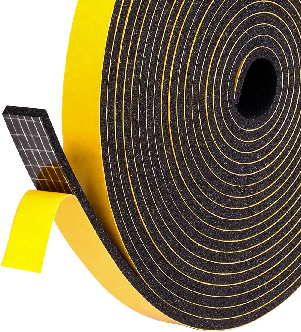 """Foam Weather Stripping Tape for Windows Insulation and Seal, 1/2"""" W X 1/8"""" T X 48' L"""
