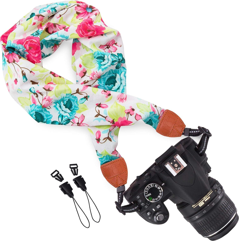 Wolven Soft Scarf Camera Neck Shoulder Strap Belt Compatible with All DSLR/SLR/Digital Camera (DC) / Instant Camera/Polaroid Etc, White Flower