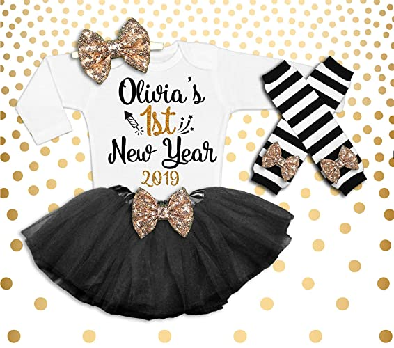 f74c16298e27 Image Unavailable. Image not available for. Color: New Year's Outfit Baby  Girl 1st ...