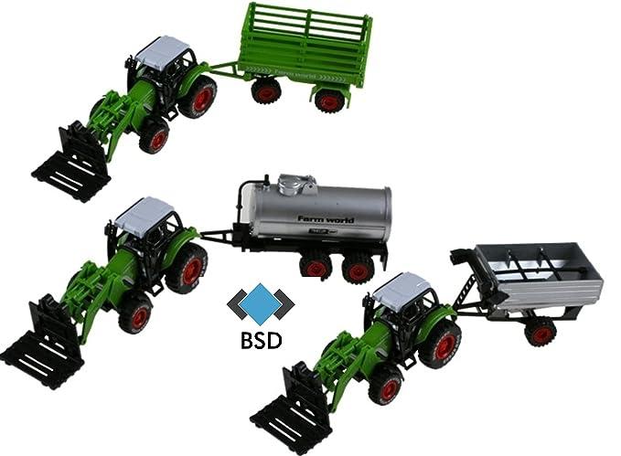 Tractor agricola - tractor agrícola con remolque desmontable - SET - dos tractores, remolques tres, cuatro hojas intercambiables: Amazon.es: Juguetes y ...