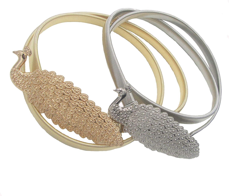 Dresses belts for women,2Pcs Adjustable Metal Peacock Stretchy Elastic Waist Belts Silver Gold Decor Skirts Belts Peacock