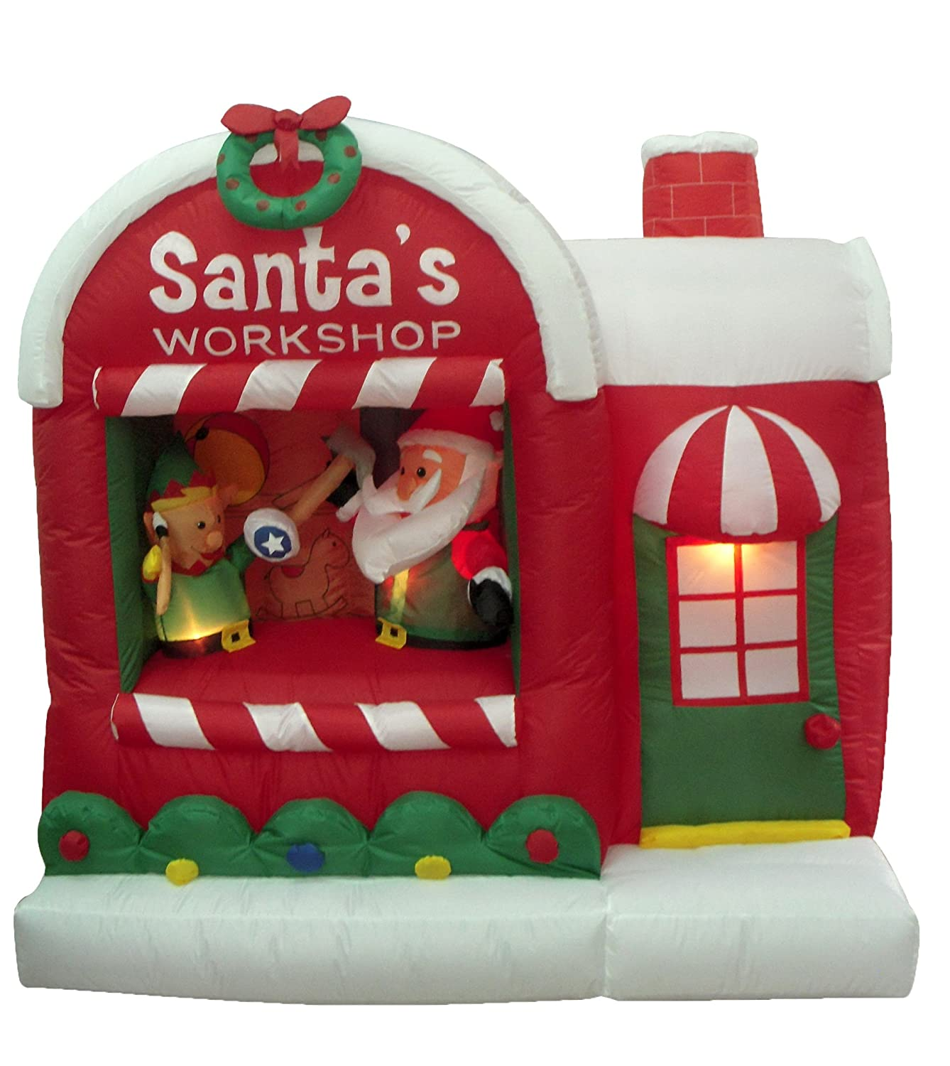 amazoncom 5 foot christmas inflatable santa claus workshop yard decoration home kitchen - Christmas Blow Up Decorations Outside