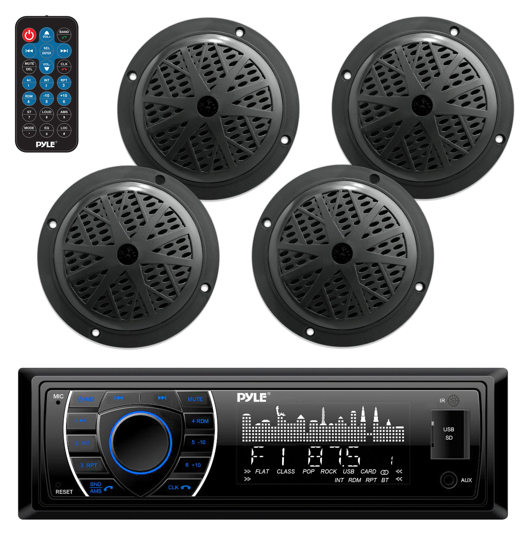 Marine Head Unit Receiver Speaker Kit - in-Dash LCD Digital Stereo Built-in Bluetooth & Microphone w/AM FM Radio System 6.5'' Waterproof Speakers (4) MP3/SD Readers & Remote Control - Pyle PLMRKT48BK