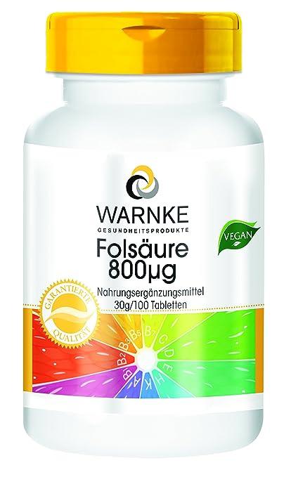 Ácido fólico 800 µg – Productos para la salud Warnke – 100 comprimidos – 100%