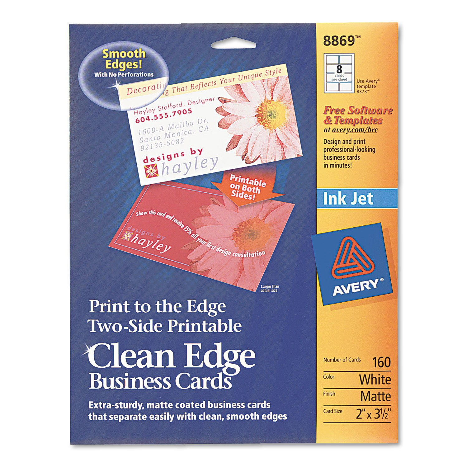 Amazon two side printable clean edge business cards inkjet 2 amazon two side printable clean edge business cards inkjet 2 x 3 12 white 160box business card stock office products colourmoves