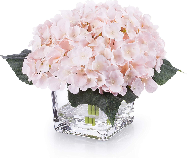 Enova Home Artificial Hydrangea Silk Flowers Arrangements in Glass Vase for Home Wedding Decoration (Blush)