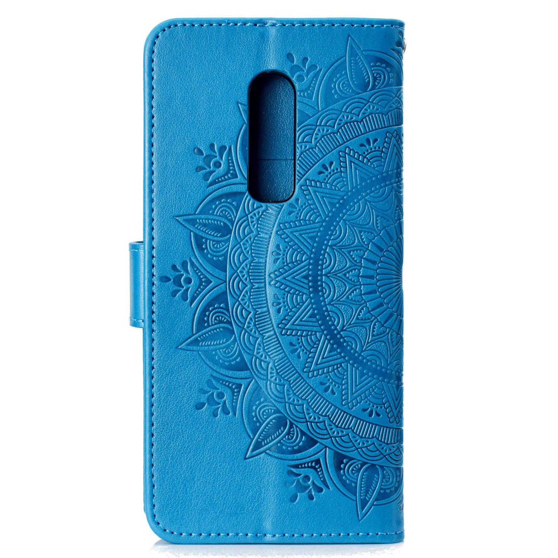 Lomogo OnePlus 6 H/ülle Leder Schutzh/ülle Brieftasche mit Kartenfach Klappbar Magnetverschluss Sto/ßfest Kratzfest Handyh/ülle Case f/ür OnePlus6 LOHHA11090 Blau
